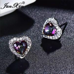Mystic Heart Shaped Sapphire Stud Earrings